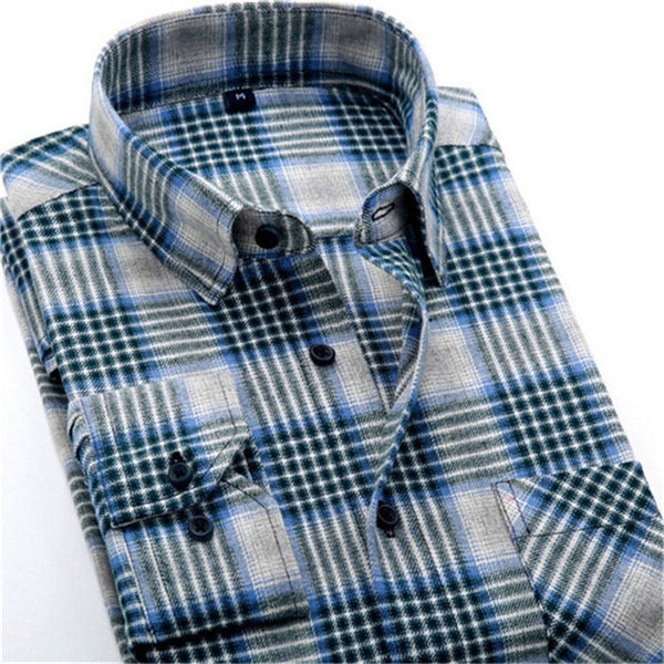 4XL Cotton Flannel Men Shirts 2016 fashion winter long plaid shirt grey