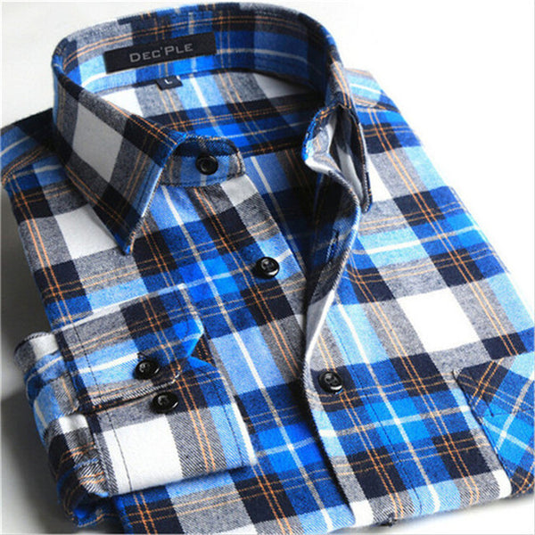 4XL Cotton Flannel Men Shirts 2016 fashion winter long plaid shirt blue grey