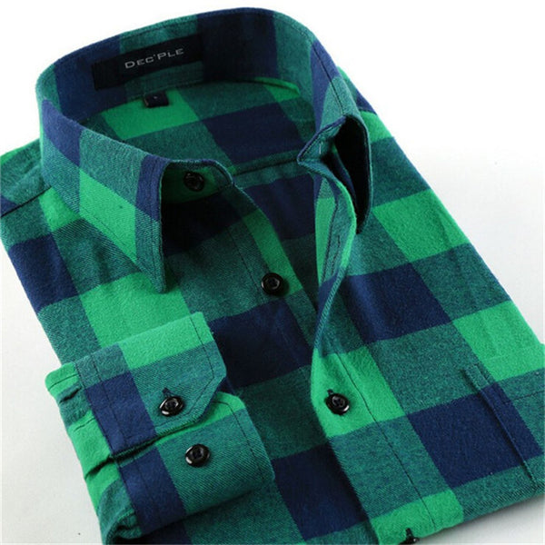 4XL Cotton Flannel Men Shirts 2016 fashion winter long plaid shirt light and dark green