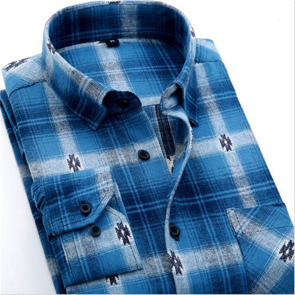 4XL Cotton Flannel Men Shirts 2016 fashion winter long plaid shirt light blue