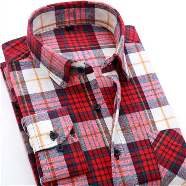 4XL Cotton Flannel Men Shirts 2016 fashion winter long plaid shirt red