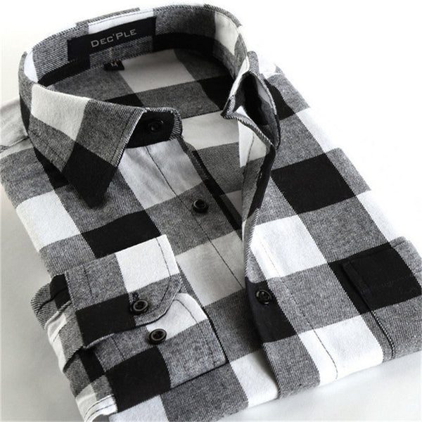 4XL Cotton Flannel Men Shirts 2016 fashion winter long plaid shirt black grey