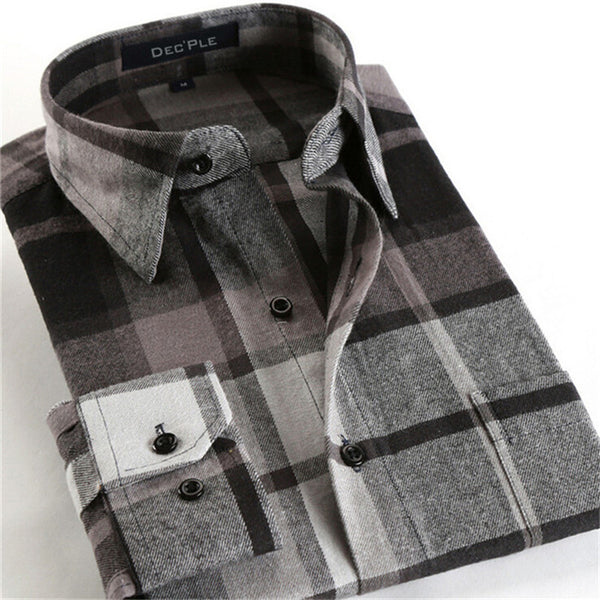 4XL Cotton Flannel Men Shirts 2016 fashion winter long plaid shirt grey brown