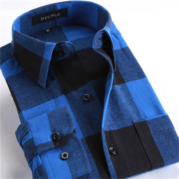 4XL Cotton Flannel Men Shirts 2016 fashion winter long plaid shirt blue