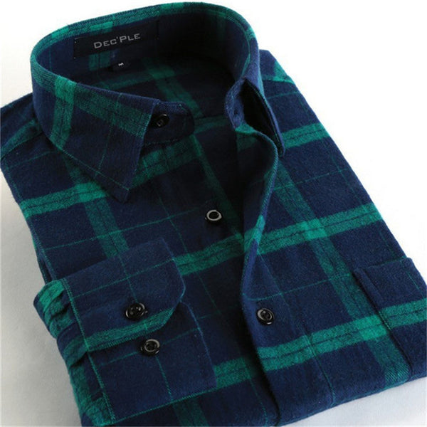 4XL Cotton Flannel Men Shirts 2016 fashion winter long plaid shirt dark green