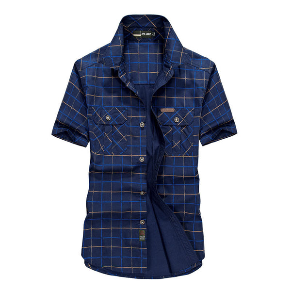 Plus Size M~4XL 5XLSummer Men's 100% Cotton Shirts Plaid blue