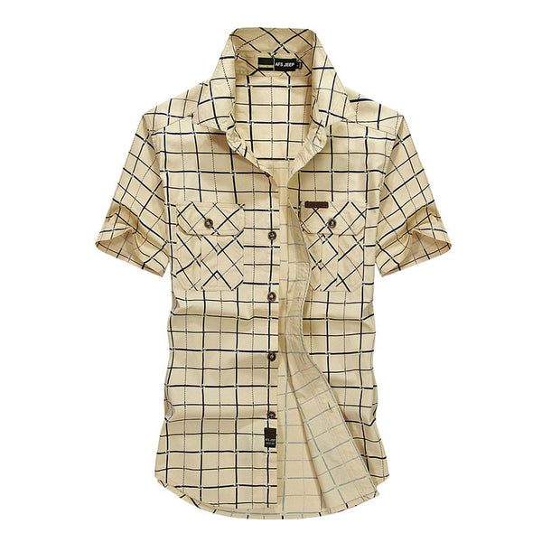 Plus Size M~4XL 5XLSummer Men's 100% Cotton Shirts Plaid khaki