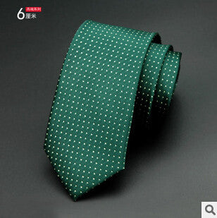 Mens Ties 2016 New Brand Man Fashion Dot Striped Neckties Hombre 6 cm Gravata Slim Tie Classic Business Casual Green Tie For Men - The Big Boy Store