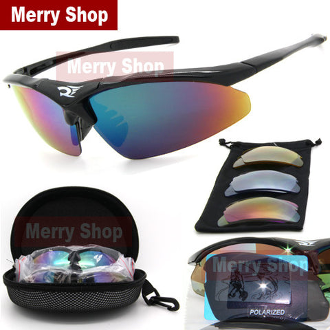 Men Polarized Glasses Sunglasses 5 Lenses Goggles Eyewear Cool with Exchangeable 5 Lens White Frame - The Big Boy Store