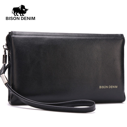 BISON DENIM  mens wallets luxury famous brand Cowskin High Quality Men Clutch Men Big Capacity Wrist Strap Wallet Bag - The Big Boy Store