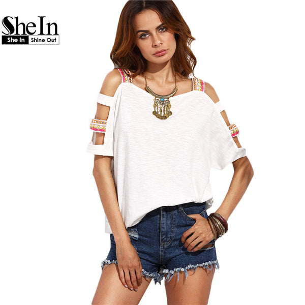 Women's Summer Casual Top Beige Square Neck Cut Out Sleeve