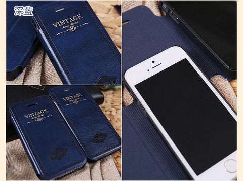 Luxury Retro Vintage Flip Leather Case Cover for iphone 7 6 6s Plus 4 4s 5 5s SE Cases - The Big Boy Store
