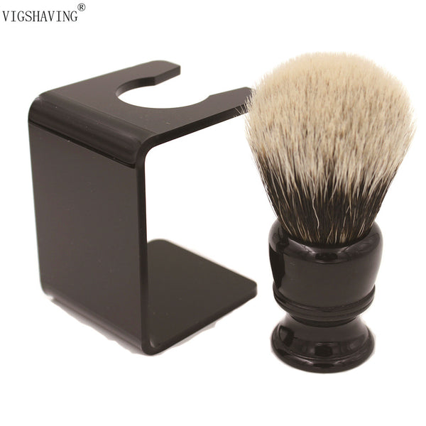 VIGSHAVING  26mm knot Black Resin handle Finest badger Hair Shaving Brush with Free Acrylic Stand - The Big Boy Store