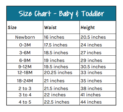 Size Chart - Baby and Toddler