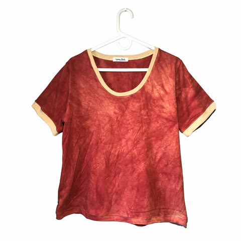 Scoop Neck Tshirt - Naturally Dyed - Madder Red - Women's Clothing