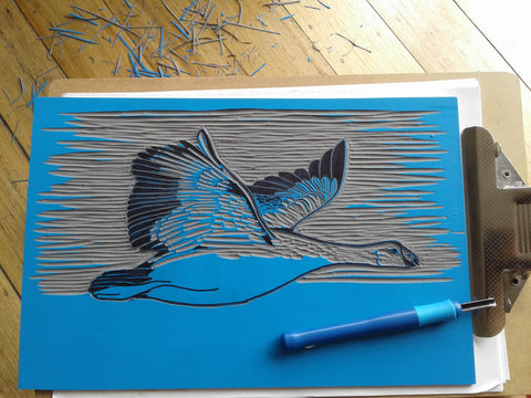 cape barren goose linocut work in progress