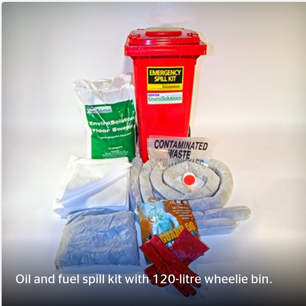 120L Oil & Fuel Spill Kit - Wheelie Bin