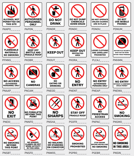 Prohibition Pictograms