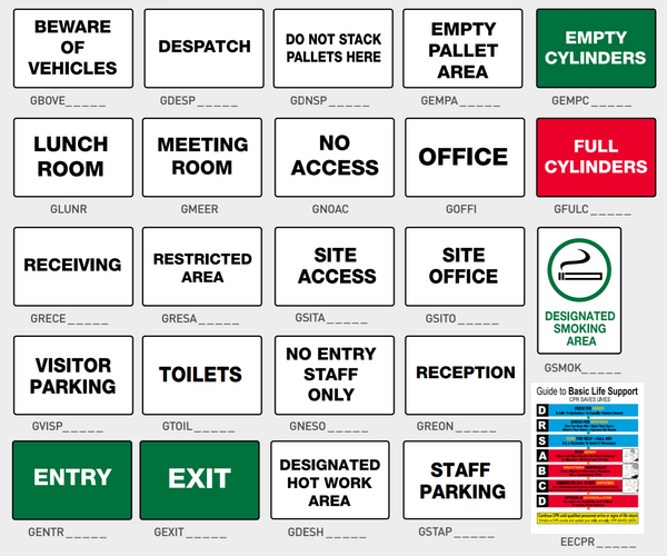 General Workplace Signs