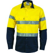 DNC HiVis Cotton 2 Tone Drill Work Shirt - Long Sleeve