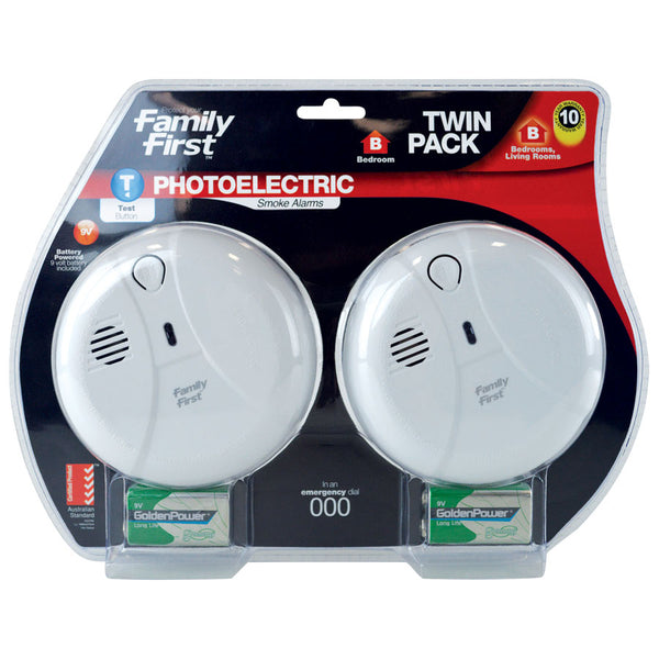 Photoelectric Smoke Alarm 9V Twin Pack