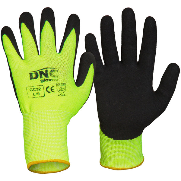 DNC Cut Resistant Gloves Nitrile Sandy Finish HiVis