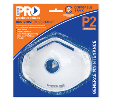 PROCHOICE Respirator P2 with Valve 3 Pack