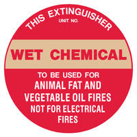Fire Extinguisher Wet Chemical ID Sign