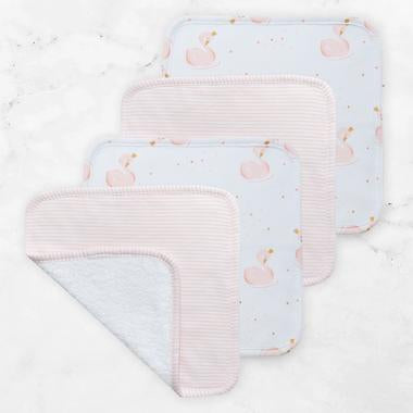 Made from 100% cotton, absorbent terry toweling and backed with jersey, this 4pk of face washers is perfect for baby bath time