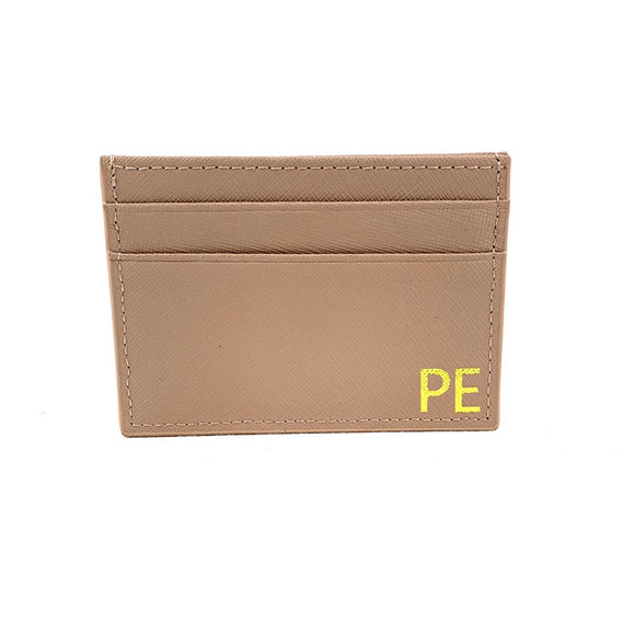 SAFFIANO MONOGRAMMED CARD HOLDER