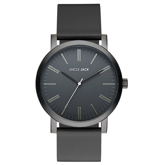 UNCLE JACK - BLACK BLACK LEATHER WATCH