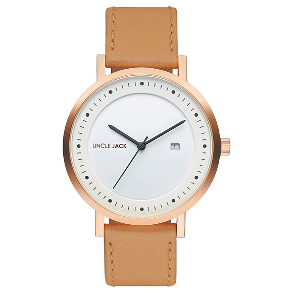 UNCLE JACK - CARAMEL & GOLD LEATHER WATCH