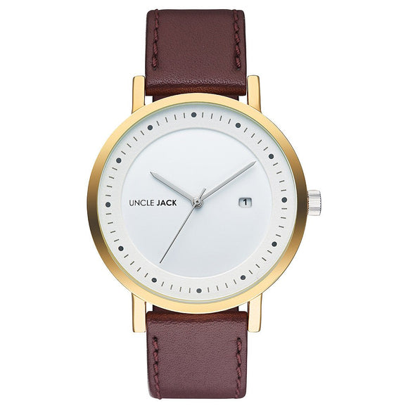 UNCLE JACK - CHERRY & GOLD LEATHER WATCH