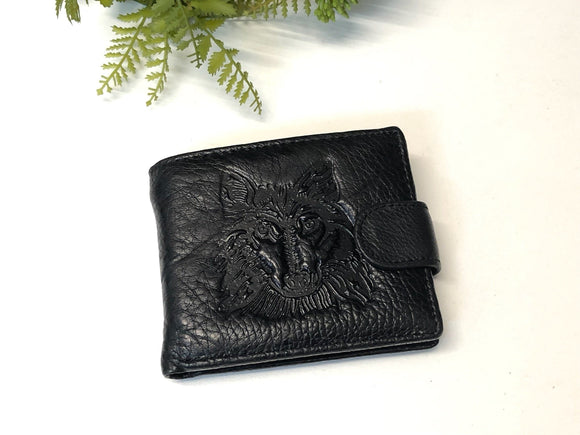 MENS LEATHER WALLET - WOLF