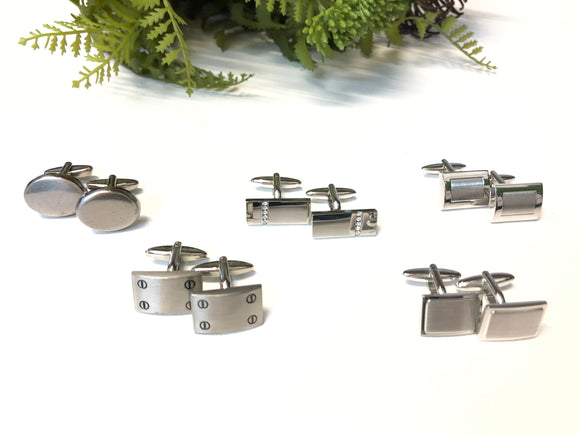 MENS SILVER CUFF LINKS- COBBLER RD