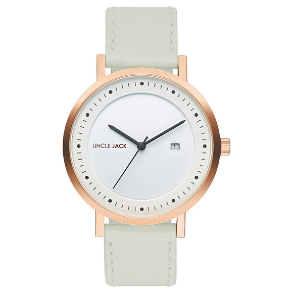UNCLE JACK - KHAKI & ROSE GOLD LEATHER WATCH