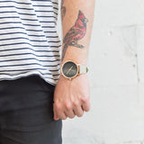 UNCE JACK - KHAKI, ROSEGOLD & BLACK LEATHER WATCH