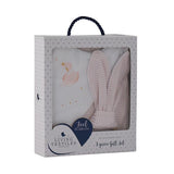 Sweet and practical, this 3 piece gift set is the perfect baby shower gift for new parents to be. Features a bib, burp bib made from super soft 100% cotton jersey, and a gorgeous wooden teether with fabric bunny ears.