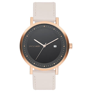 UNCLE JACK - NUDE, ROSEGOLD & BLACK LEATHER WATCH