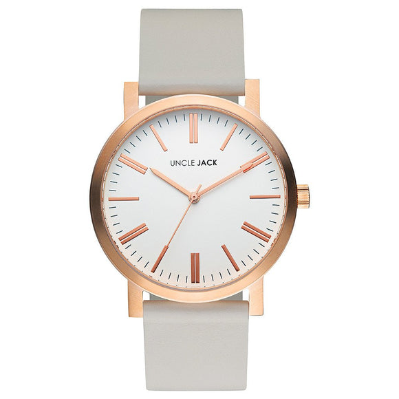 UNCLE JACK - ROSE GOLD & GREY LEATHER WATCH