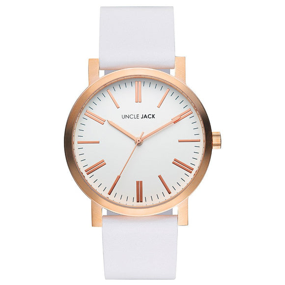 UNCLE JACK - ROSE GOLD & WHITE LEATHER WATCH