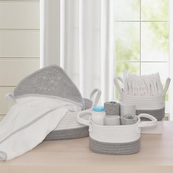 Perfect for under the change table or in the bathroom, our 100% cotton rope 3pc storage set will keep everything organised for change and bath time.  Our gorgeous storage sets are hand washable and line dry.