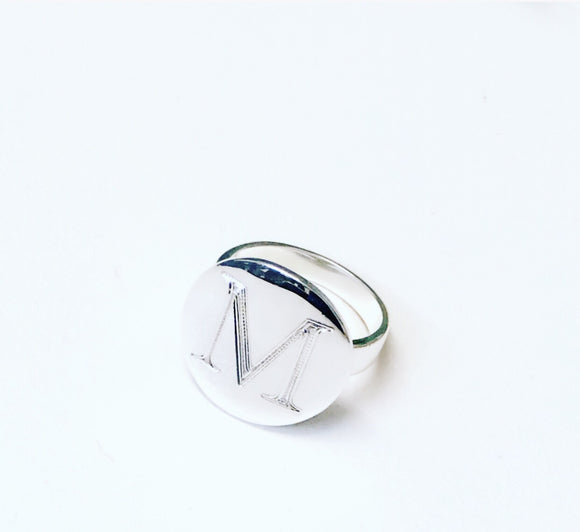 SIGNET RING - LARGE ROUND STERLING SILVER RING