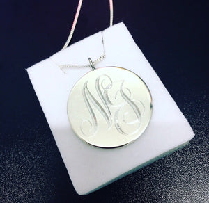 LARGE STERLING SILVER DISC PENDANT - COBBLER RD