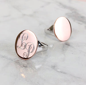 ROSE GOLD PLATE TWO TONE OVAL SIGNET RING