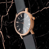 UNCLE JACK - BLACK & ROSE GOLD LEATHER WATCH