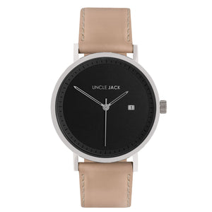 UNCLE JACK - NUDE, SILVER & BLACK LEATHER WATCH