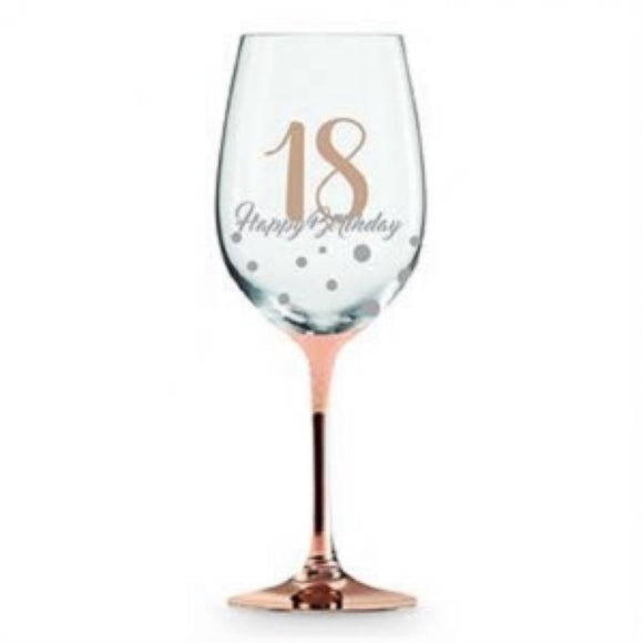 18 Happy Birthday Rose Gold Wine Glass