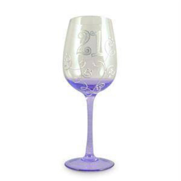 21 Wine Glass Silver Purple