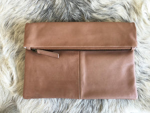 FOLDOVER LEATHER CLUTCH - BARE LEATHER